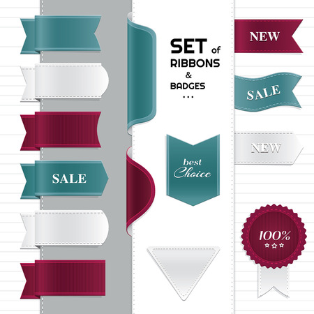 best choice: Big set of ribbons and badges  Illustration