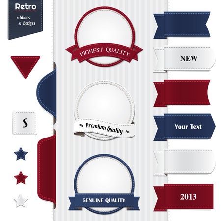 Big set of ribbons and badges  Illustration