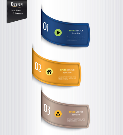 numbered: Set of colorful banners, bookmarks, labels, website layouts. Modern design template.