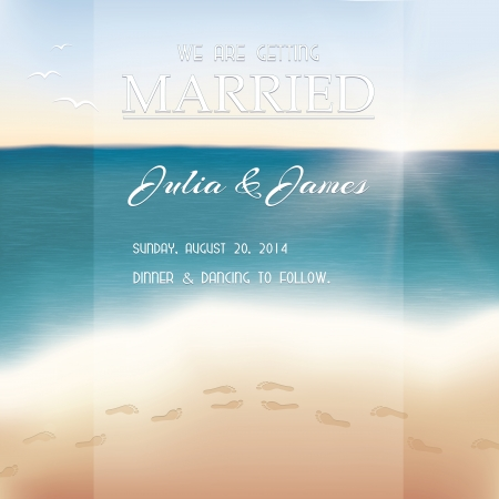 dinner date: Wedding invitation card. View of the sea with footprints in the sand.