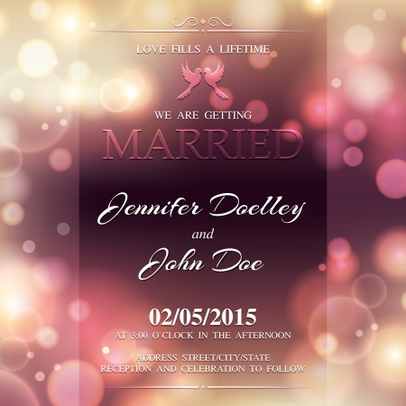 dinner date: Wedding invitation in bright color. Illustration