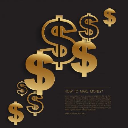 dollar signs: Gold dollar signs background Illustration