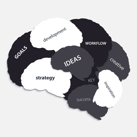 Human brain silhouette with business words. Illustration