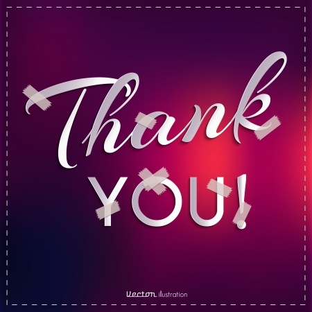 Thank you card on colorful background  Vector