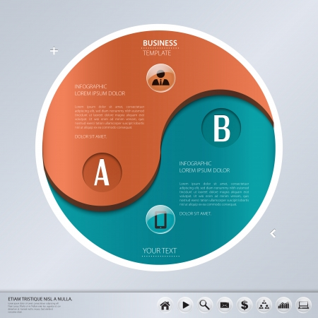 ying yang: Vector template for business concepts with icons   can use for info graphic