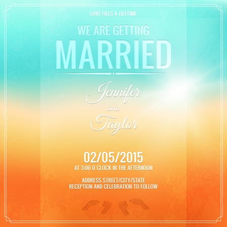 Wedding invitation card  Footprints in the sand  Vector