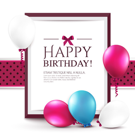 happy young people: Birthday card with balloons and frame. Illustration