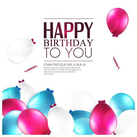 happy birthday party: Tarjeta de cumplea�os con globos y el texto de cumplea�os. Vectores
