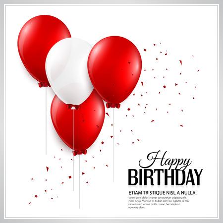urodziny: Kartka urodzinowa z balonami i tekst urodziny. Ilustracja