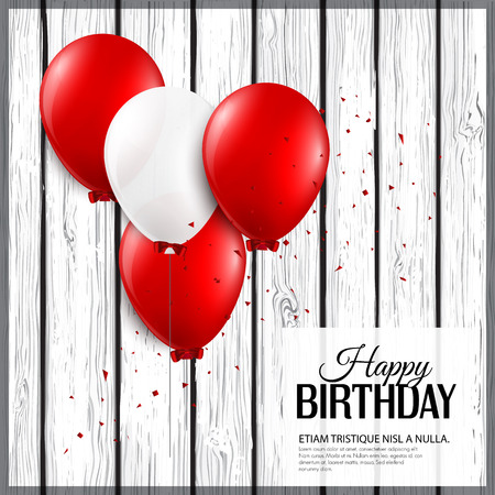 Birthday card with balloons and birthday text. Vector