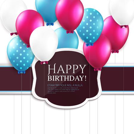 Verjaardagskaart met ballonnen en birthday tekst. Stock Illustratie
