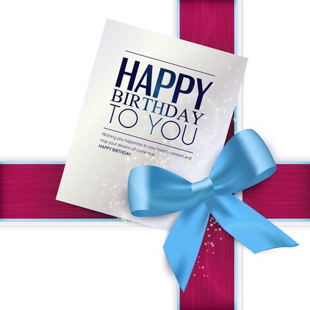 wish of happy holidays: Birthday card with blue ribbon and birthday text.
