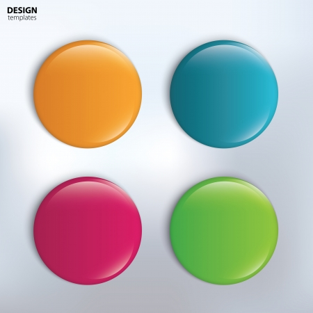 badge: Four colorful glossy badge. vector