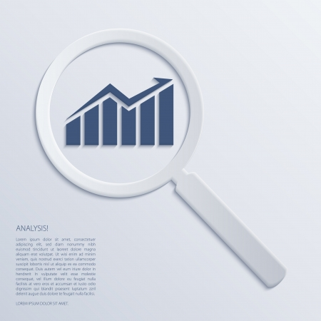 financial figures: Analysis. Magnifying glass with icon. Vector.