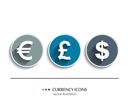 sell shares: Currency icons set, dollar, euro, pound