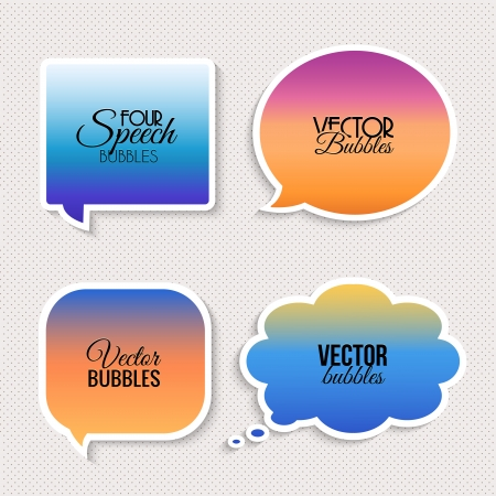 Colorful speech bubbles with text. Vector