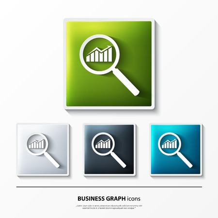 Set of glossy vector icons on button with business graph.