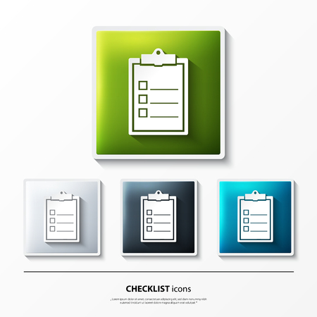 checklist: Set of glossy vector icons on button with checklist.