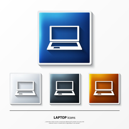 computers network: Set of glossy vector icons on button with laptop. Illustration