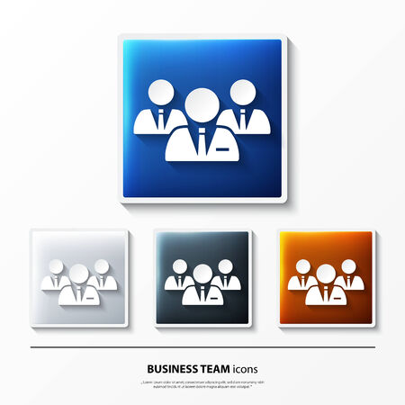 Set of glossy icons on button with business team. Vector