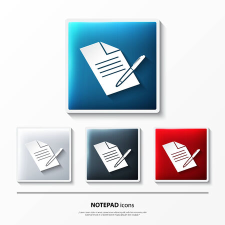 note pad and pen: Set of glossy icons on button with notepad.