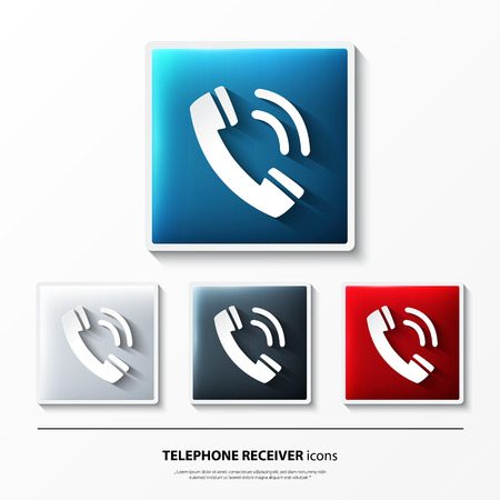 Set of glossy vector icons on button with telephone receiver.