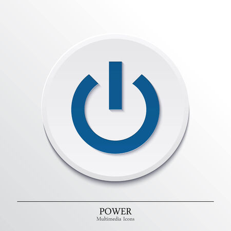 button icons: Multimedia icons on button, power  Vector