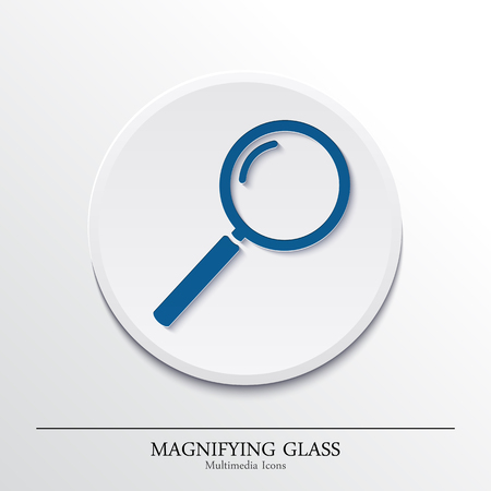 Multimedia icons on button, magnifying glass. Vector. Vector