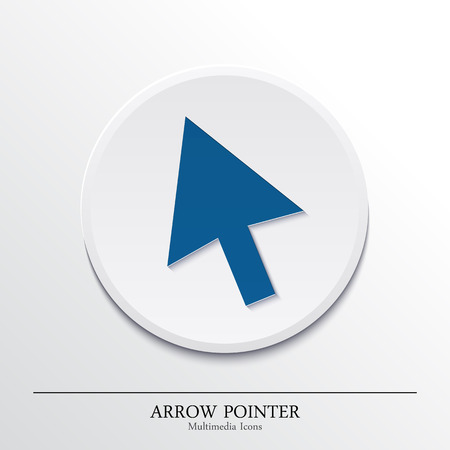 click here icon: Multimedia icon on button, arrow pointer. Vector.