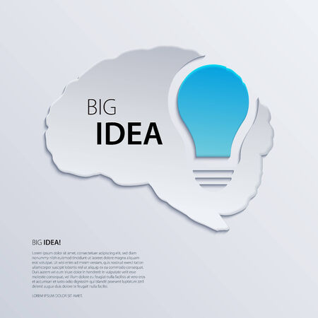 Brain with blue bulb, idea concept. Vector