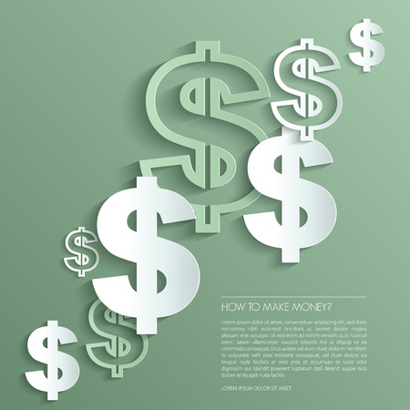 Vector dollar signs on green background. Vector