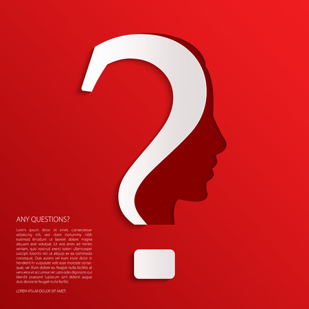 remember: Vector question mark human head symbol on red background.
