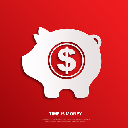 bank icon: Vector moneybox with dollar sign. Time is money.