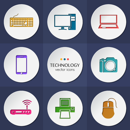 electronic devices: Vector collection of colorful flat technology.