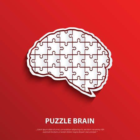 Vector human brain composed of a puzzle. Vetores