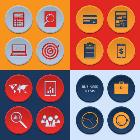 Vector flat icons of business workflow items and elements, office things and equipment. Vector