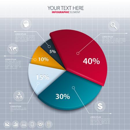 Vector pie chart - business statistics.