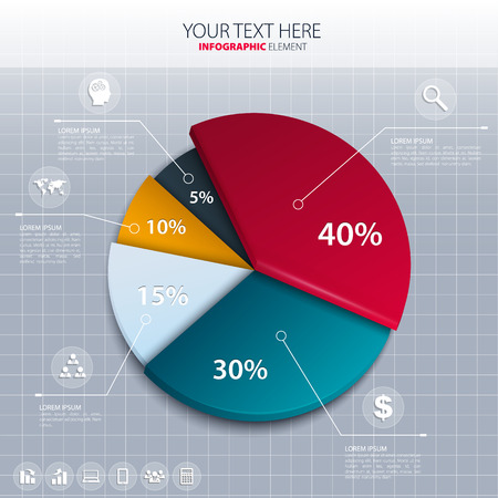Vector pie chart - business statistics.