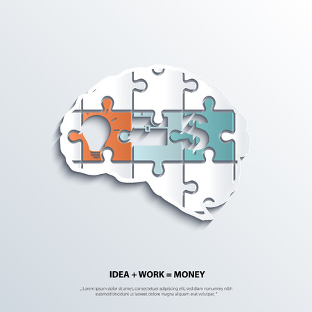 Illustration of piece of jigsaw puzzle showing business equation in human brain. Vetores