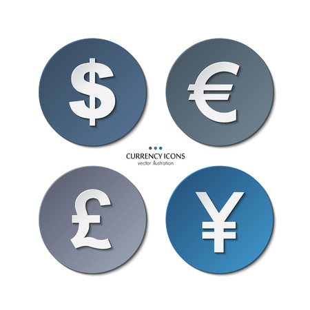 Vector set of currency icons, dollar, euro, pound, yen. Illustration