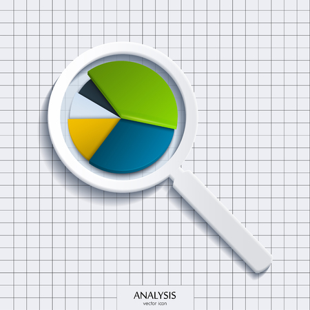 Analysis. Magnifying glass with business pie. Vector