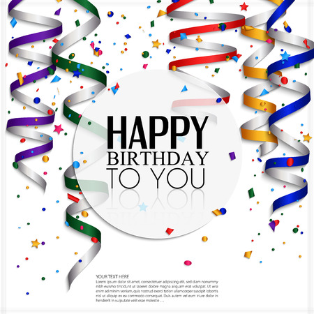 Birthday card with curling stream, confetti and birthday text  Ilustração