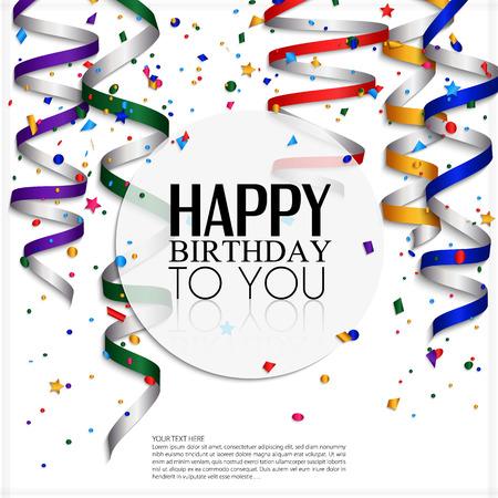 Verjaardagskaart met curling stroom, confetti en verjaardag tekst Stock Illustratie