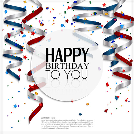 celebration background: Birthday card with curling stream, confetti and birthday text  Illustration