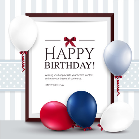 happy people white background: Vector birthday card with balloons and frame
