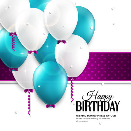 Vector birthday card with balloons, and birthday text  Vector