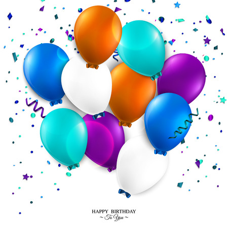 Vector birthday card with balloons and birthday text Banco de Imagens - 28403050