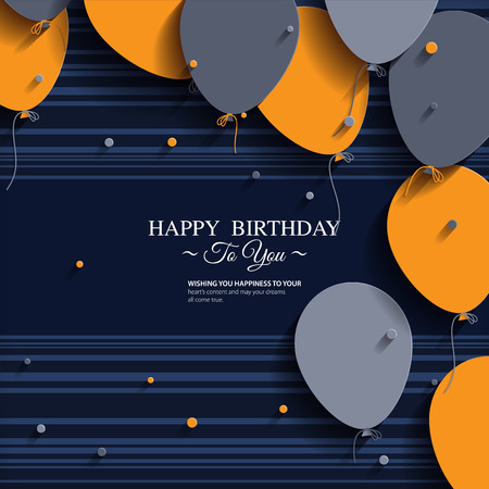 date of birth: Vector birthday card with balloons and birthday text
