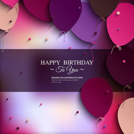 date of birth: Vector birthday card with balloons, and birthday text