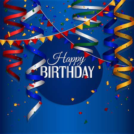 Vector birthday card with curling stream, confetti and birthday text